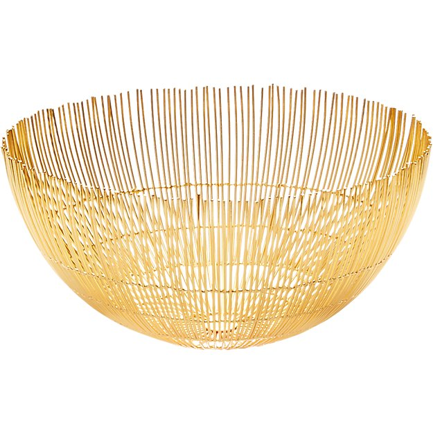 soleil large brass wire bowl