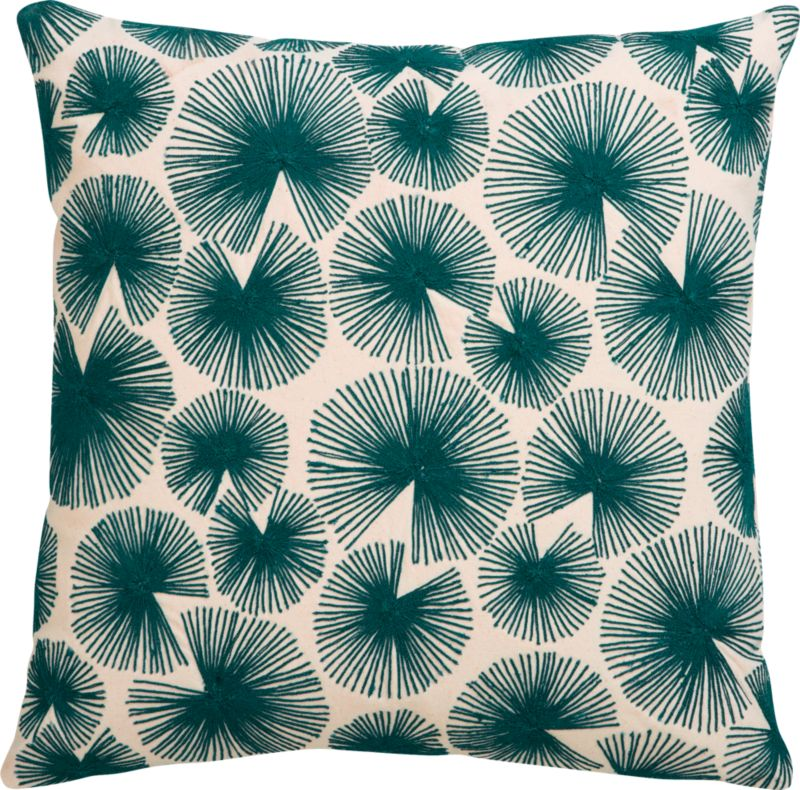 """sparks blue-green 16"""" pillow with down-alternative insert"""