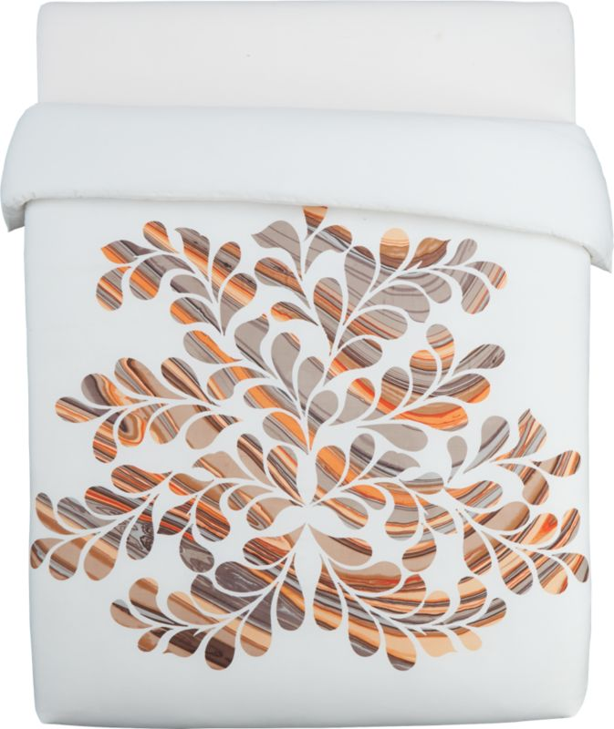 """<span class=""""copyHeader"""">a new leaf.</span> Chicago artist Noël Ashby's organic take on midcentury modern sprouts just off center, radiating out in elegant curves. Striations of light grey, dark grey, browns, tans, orange and white pop 2D in a leafy graphic against 100% white cotton backdrop. Clean design closes with hidden buttons and ties. Matching shams with vertical stripes are finished neat with envelope closure.<br /><br /><NEWTAG/><ul><li>Graphic designed by Chicago artist Noël Ashby</li><li>100% cotton</li><li>Duvet has nonslip corner ties and hidden button closures</li><li>Reverses to solid white</li><li>Machine wash</li></ul>"""