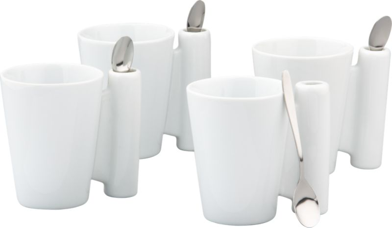 8-piece spoon coffee mug white gift set