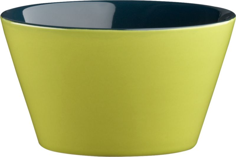 """<span class=""""copyHeader"""">bowled over.</span> Two-tone stoneware bowl is a colorful character, inside and out. Hi-gloss green exterior plays bold off dark blue interior to pop everything from soup to nuts. Handmade dish with deep, angled sides stacks to store.<br /><br /><NEWTAG/><ul><li>Handmade</li><li>Glazed stoneware</li><li>Green exterior; dark blue interior</li><li>Stackable</li><li>Dishwasher- and microwave-safe; oven-safe at 350-degrees up to two hours</li></ul>"""
