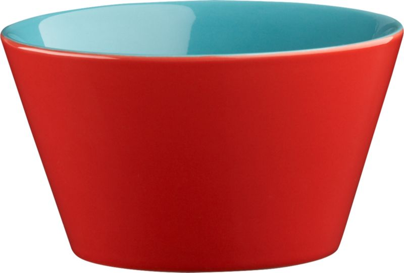 """<span class=""""copyHeader"""">bowled over.</span> Two-tone bowl is a colorful character, inside and out. Hi-gloss red exterior plays bold off aqua interior to pop everything from soup to nuts. Handmade dish with deep, angled sides stacks to store.<br /><br /><NEWTAG/><ul><li>Handmade</li><li>Glazed stoneware</li><li>Red exterior; aqua interior</li><li>Stackable</li><li>Dishwasher- and microwave-safe; oven-safe at 350-degrees up to two hours</li></ul>"""