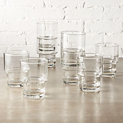 stack double old-fashioned glasses set of eight