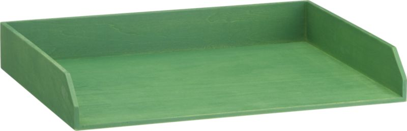 stained green letter tray