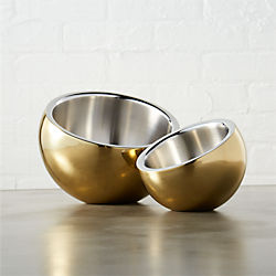 stainless steel gold snack bowls
