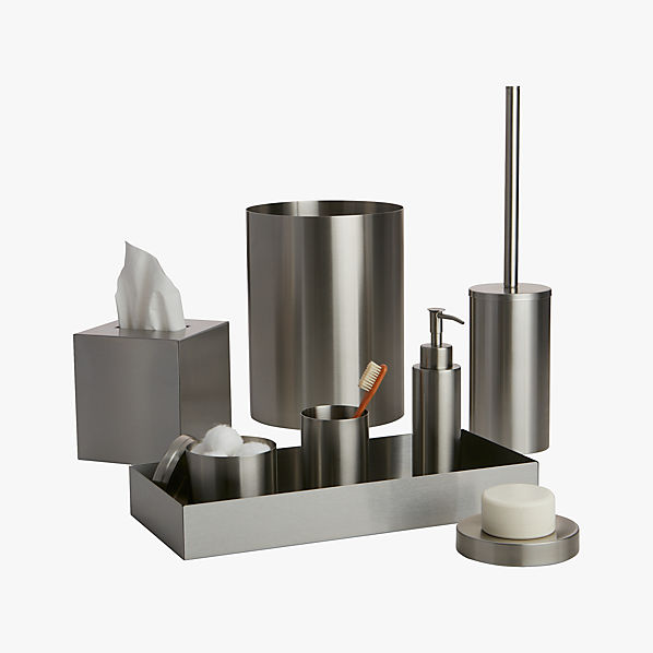 Stainless steel bath accessories cb2 for Contemporary bathroom accessories