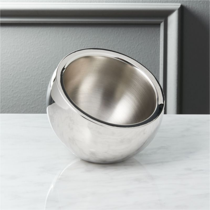 """<span class=""""copyHeader"""">inclined to entertain.</span> An inviting tilt offers nibbles or dips from a cool stainless steel cocoon. Brushed interior, polished exterior.<br /><br /><NEWTAG/><ul><li>Stainless steel</li><li>Use for snacks, dips or condiments</li><li>Hand wash</li></ul>"""