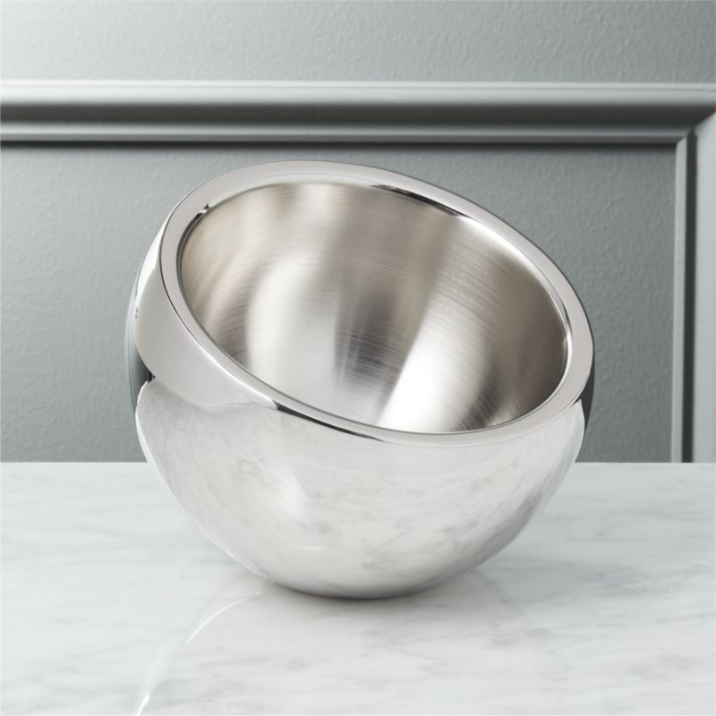 "<span class=""copyHeader"">inclined to entertain.</span> An inviting tilt offers nibbles or dips from a cool stainless steel cocoon. Brushed interior, polished exterior.<br /><br />Head to <a rel=""external""href=""http://www.cb2.com/blog/cheese-platter-ideas/"">Idea Central</a> for tips on serving the ultimate cheese platter.<br /><br /><NEWTAG/><ul><li>Stainless steel</li><li>Use for snacks, dips or condiments</li><li>Hand wash</li></ul>"