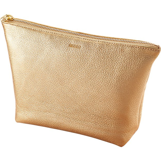 BAGGU stash gold leather clutch