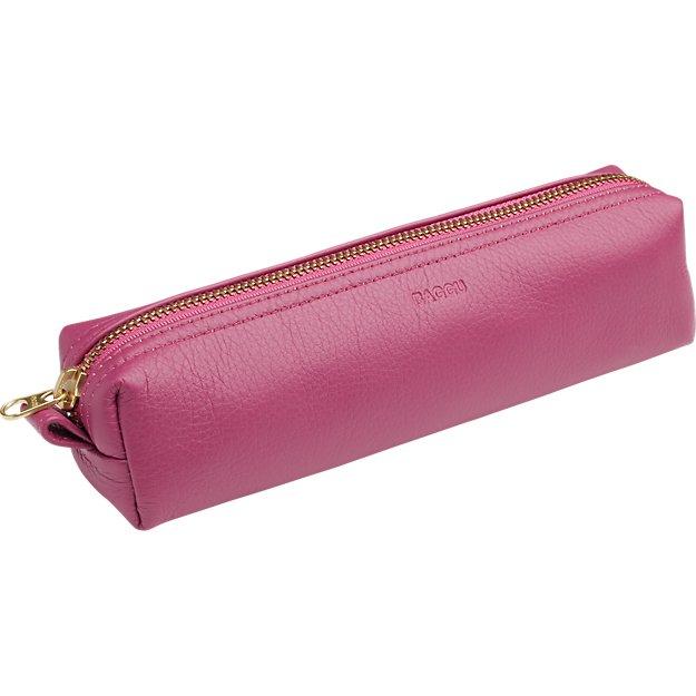 BAGGU stash magenta leather pencil case