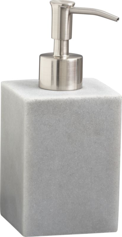 """<span class=""""copyHeader"""">faux show.</span> Clean squared form bypasses real stone in cool-to-touch grey polyresin/sandstone composite. Nickel-plated zinc alloy soap pump with brushed finish.<br /><br /><NEWTAG/><ul><li>Faux stone look</li><li>Poly resin/sandstone</li></ul>"""