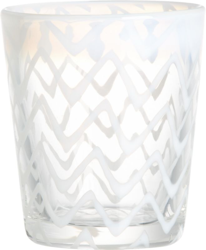 """<span class=""""copyHeader"""">line art.</span> Freeform chevrons in cloudy white are blown right into this handmade glass, infusing cocktails and mocktails with a graphic twist. Artfully crafted cocktailer has great heft, thick walls, substantial sham.<br /><br /><NEWTAG/><ul><li>Soda glass</li><li>Freeform chevron pattern</li><li>Dishwasher-safe</li></ul><br />"""