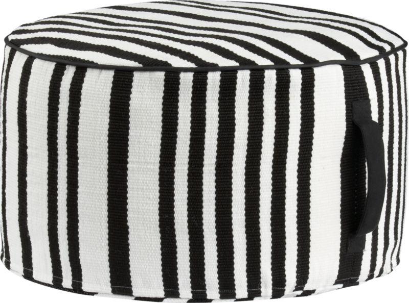 stripe woven black and white outdoor pouf
