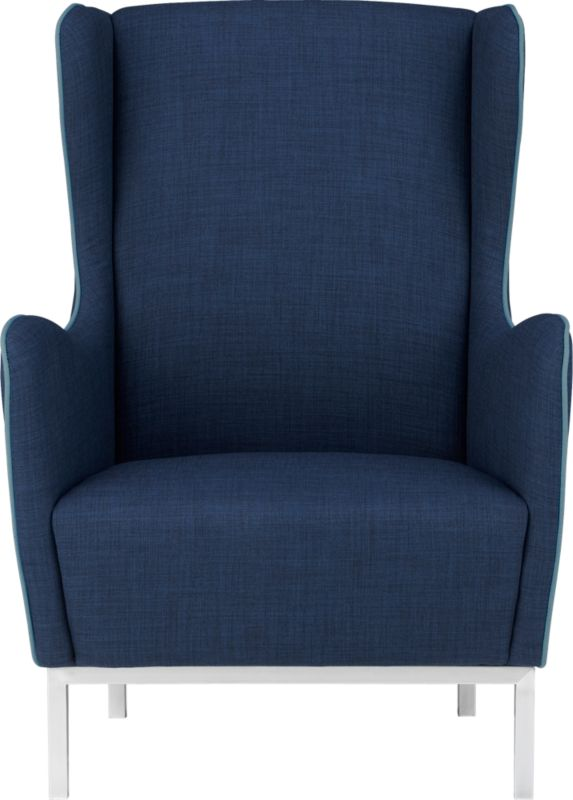 study navy wingback chair