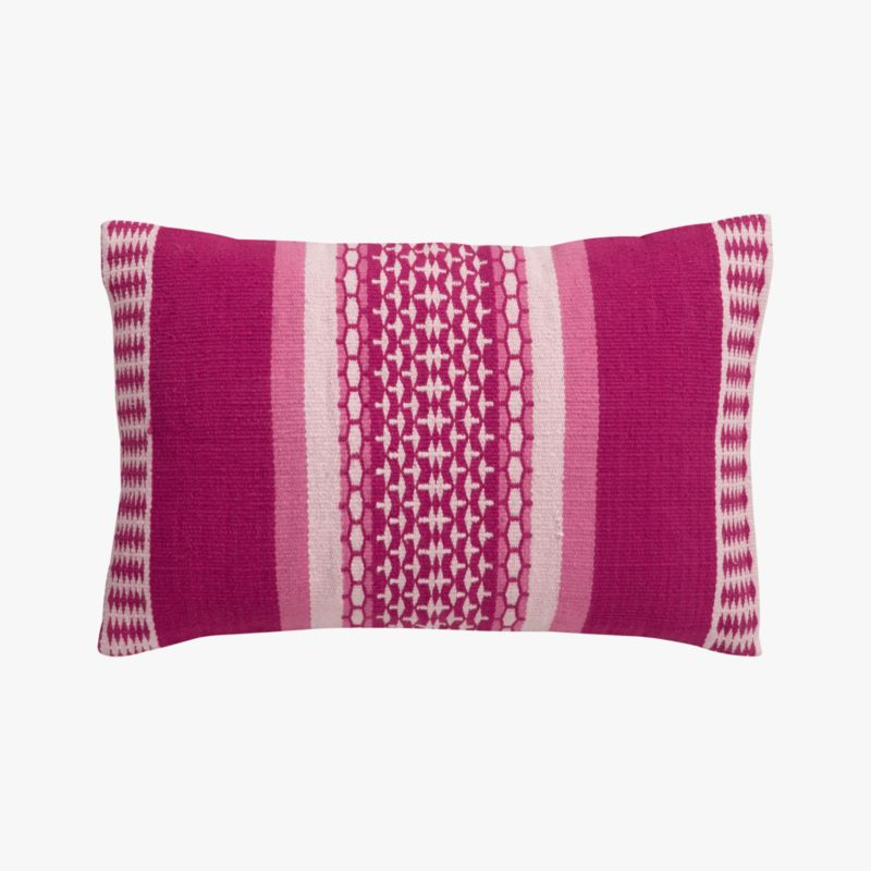 "saudades magenta 18""x12"" pillow with feather-down insert"