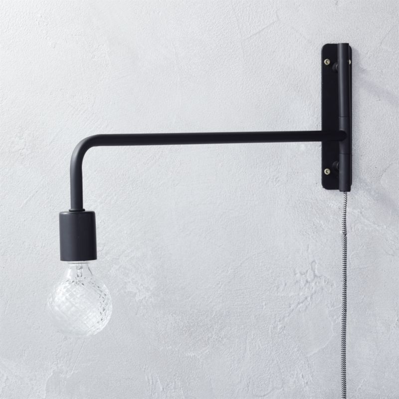 Yasmin Wall Light 2 Arm : swing arm black wall sconce CB2