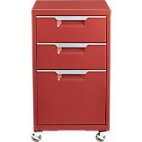 TPS brick red 3-drawer filing cabinet