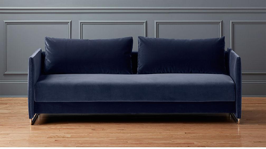 tandom navy blue velvet sofa cb2