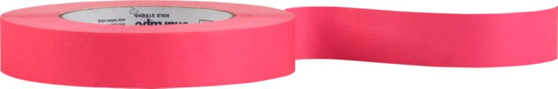 """<span class=""""copyHeader"""">wrap star.</span> Think outside the box. Neon pink tape pops gifts with DIY creativity. Printable surface also makes clever labels. Fun to spool in our cement tape dispenser. Sticks bold on our black gift wrap.<br /><br /><NEWTAG/><ul><li>Printable colored tape</li><li>60.1 yards</li></ul>"""