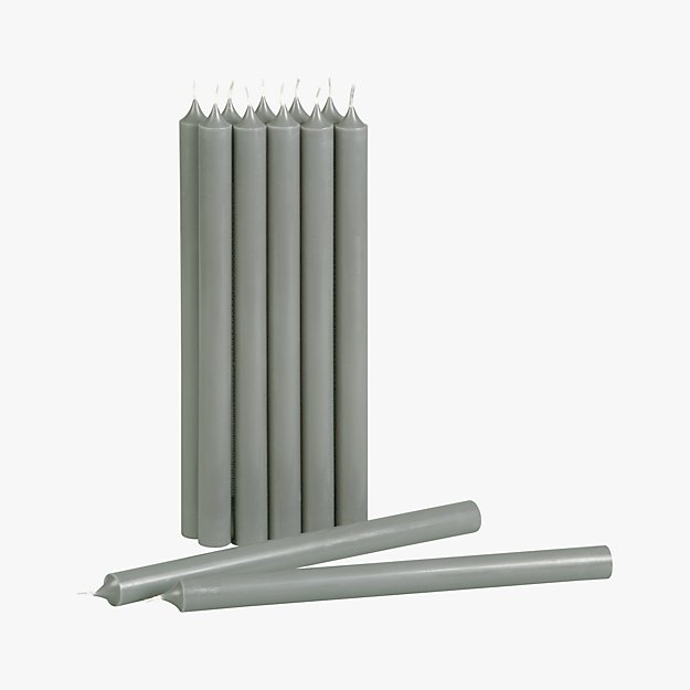 set of 12 grey taper candles