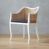tayabas cane side chair with black cushion
