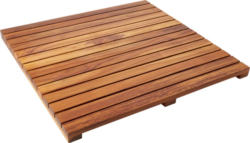 teak bath mat