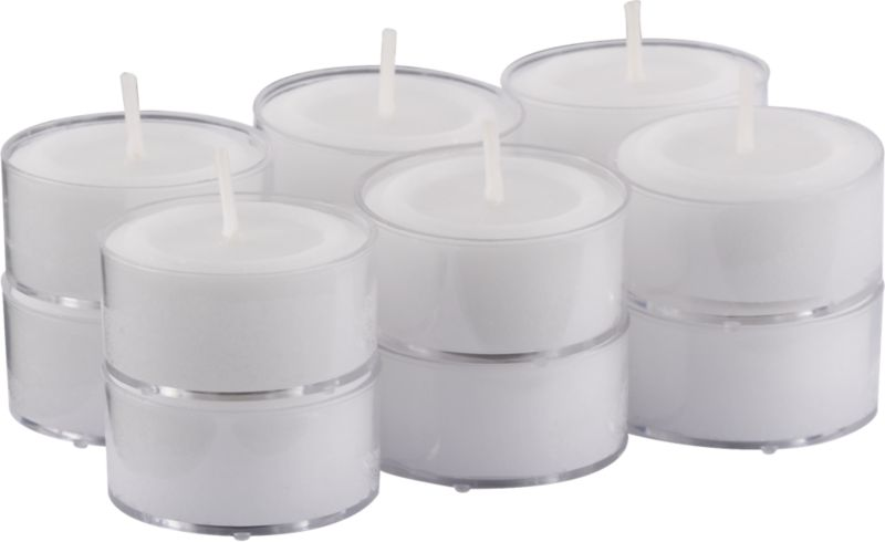 set of 12 clear-cupped tealight candles