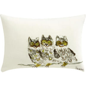 three owls 18x12 pillow