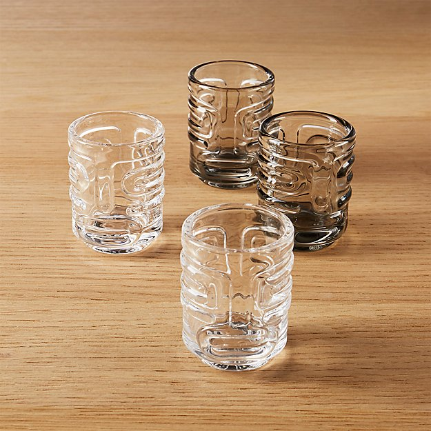 set of 4 tiki stacking shot glasses