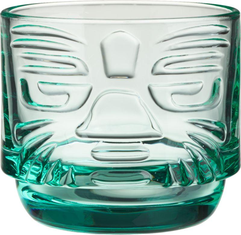 tiki aqua stacking glass