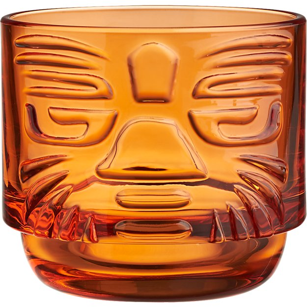 tiki orange stacking glass