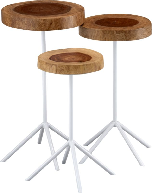 timber side tables set of 3