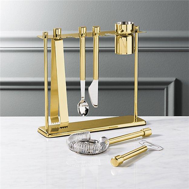 top shelf bar tool set with stand