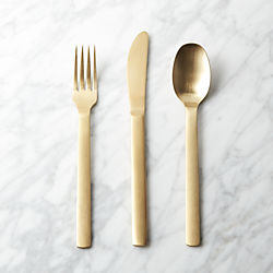 3-piece torino gold flatware set