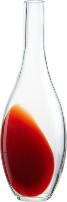 """<span class=""""copyHeader"""">color theory.</span> Handmade elongated teardrop pops a wash of red in clear glass.<br /><br /><NEWTAG/><ul><li>Handmade</li><li>Soda glass</li><li>Water-tight</li><li>Wipe with soft, dry cloth</li></ul>"""