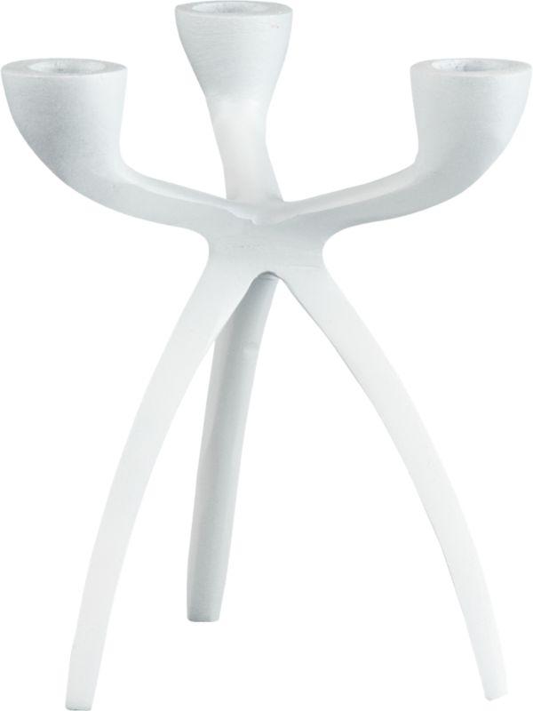 tri taper small white candle holder
