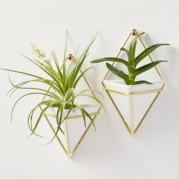 set of 2 trigg small wall vases