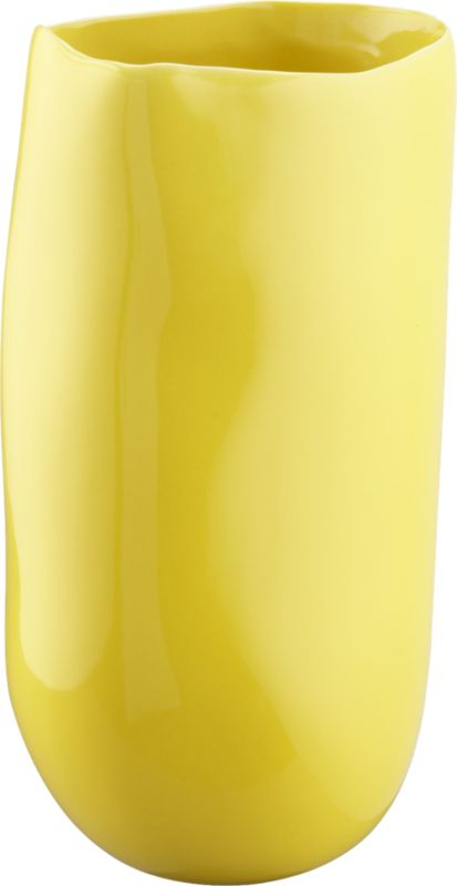 "<span class=""copyHeader"">organic arrangement.</span> Stoneware vessel freeforms a softly grooved organic shape in a slick pop of yellow. Pair hi/lo, shiny/matte with trough matte aqua vase.<br /><br /><NEWTAG/><ul><li>Stoneware</li><li>Hi-gloss yellow finish</li><li>Water-tight</li><li>Wipe with soft, dry cloth</li></ul>"