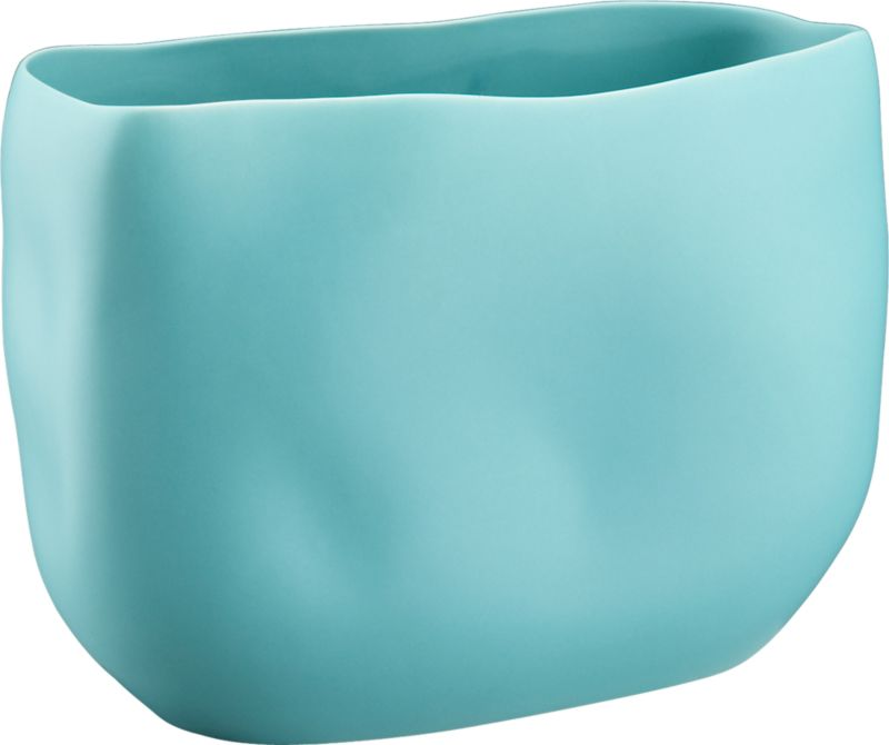 "<span class=""copyHeader"">organic arrangement.</span> Stoneware vessel freeforms a softly grooved organic shape in a matte pop of aqua. Pair hi/lo, shiny/matte with trough glossy yellow vase.<br /><br /><NEWTAG/><ul><li>Stoneware</li><li>Matte aqua finish</li><li>Water-tight</li><li>Wipe with soft, dry cloth</li></ul>"