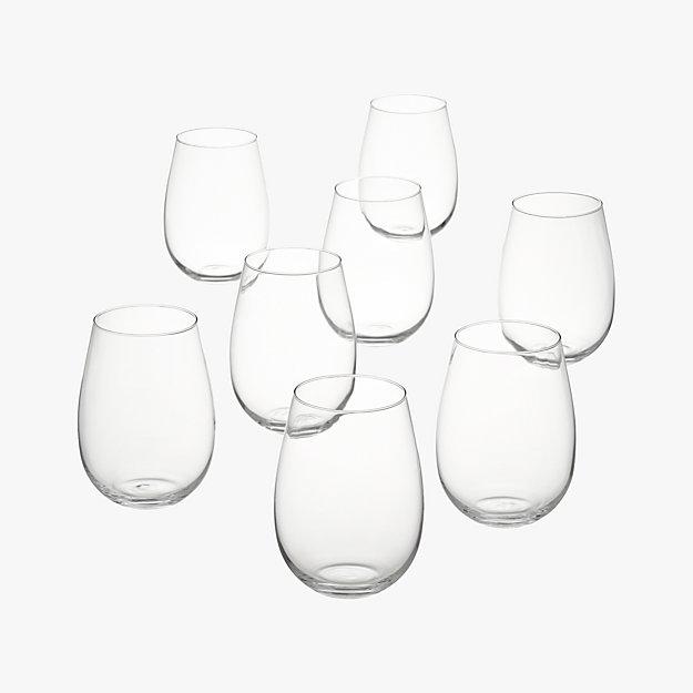 set of 8 true stemless wine glasses