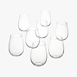 set of 8 true stemless wine glasses