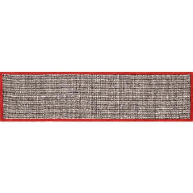 tweed dark brown linen with burnt orange border runner 2.5'x10'