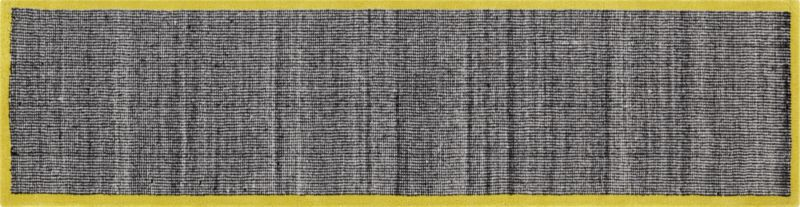 tweed black and white with chartreuse border 2.5'x10' runner