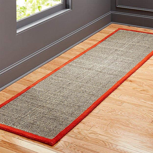 tweed dark brown linen with burnt orange border runner 2.5'x10'