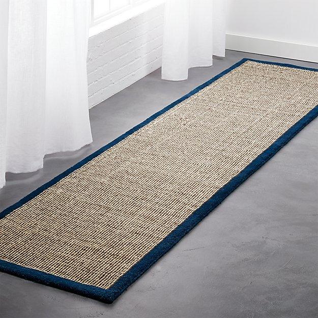 tweed dark brown linen with blue border runner