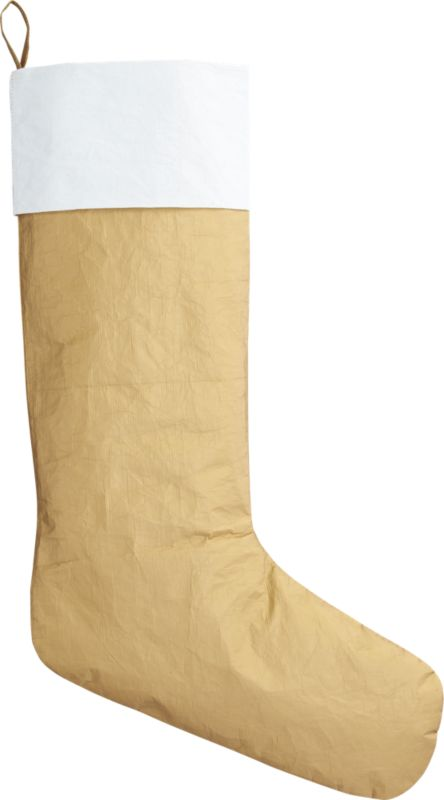 "<span class=""copyHeader"">mark it merry.</span> DIY your own festive design. Our gold stocking is made from industrial Tyvek® used in housing construction, so you can you can doodle right on it with markers (not included). Makes a fun gift bag or wine sleeve.<br /><br /><NEWTAG/><ul><li>Tyvek® polyethylene</li><li>Fun as a gift bag or wine sleeve</li></ul>"