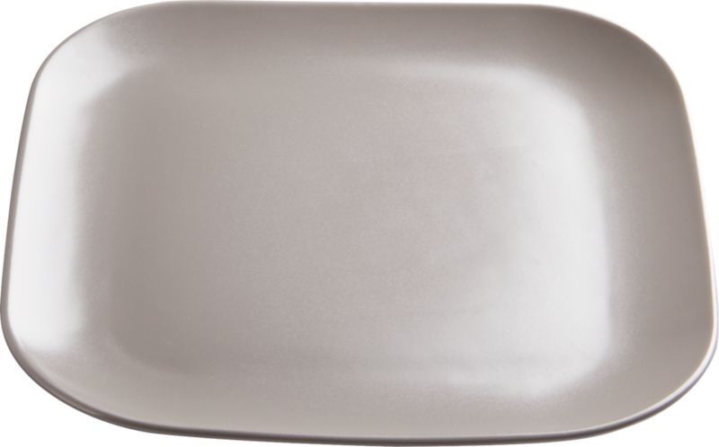 "<span class=""copyHeader"">neutral territory.</span> Modern-retro shape dines refined in neutral matte grey. Handmade of stoneware, soft square with rounded edges is a natural match for undertone tan salad plate.<br /><br /><NEWTAG/><ul><li>Handmade</li><li>Stoneware with matte grey glaze</li><li>Dishwasher-, microwave- and oven-safe</li></ul>"