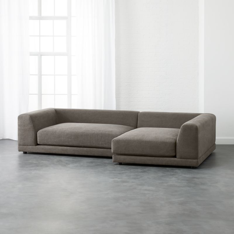 Uno 2 Piece Sectional Sofa Angel Pewter Cb2