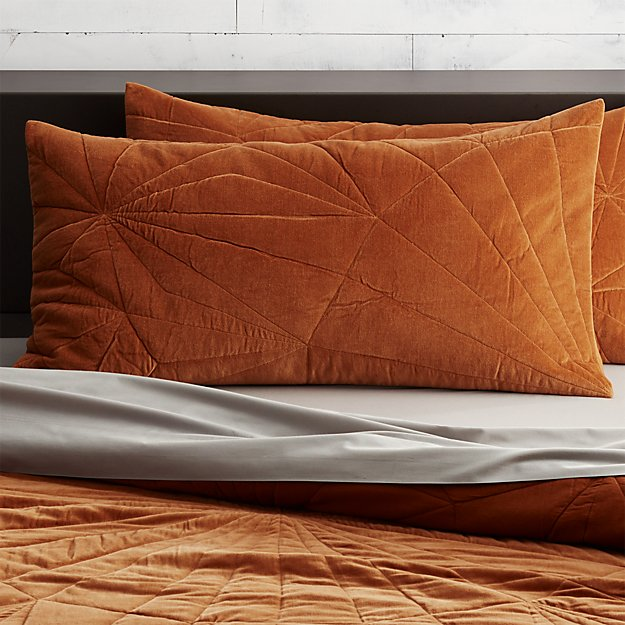 set of 2 vail amber velvet king shams