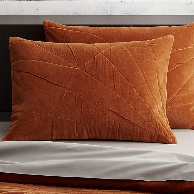 set of 2 vail amber velvet standard shams